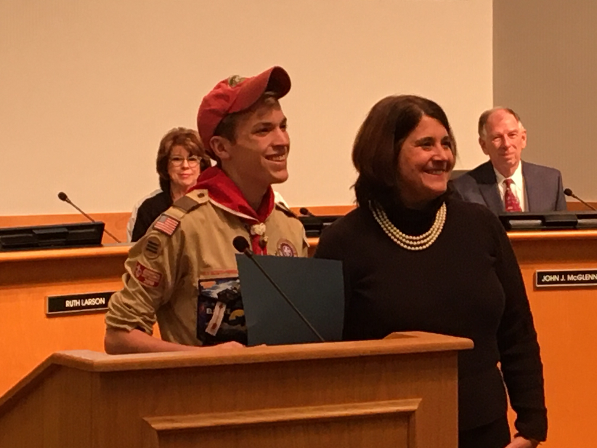 Troop 103 Scout is Recognized for Eagle Scout Project by JCC Commissioners