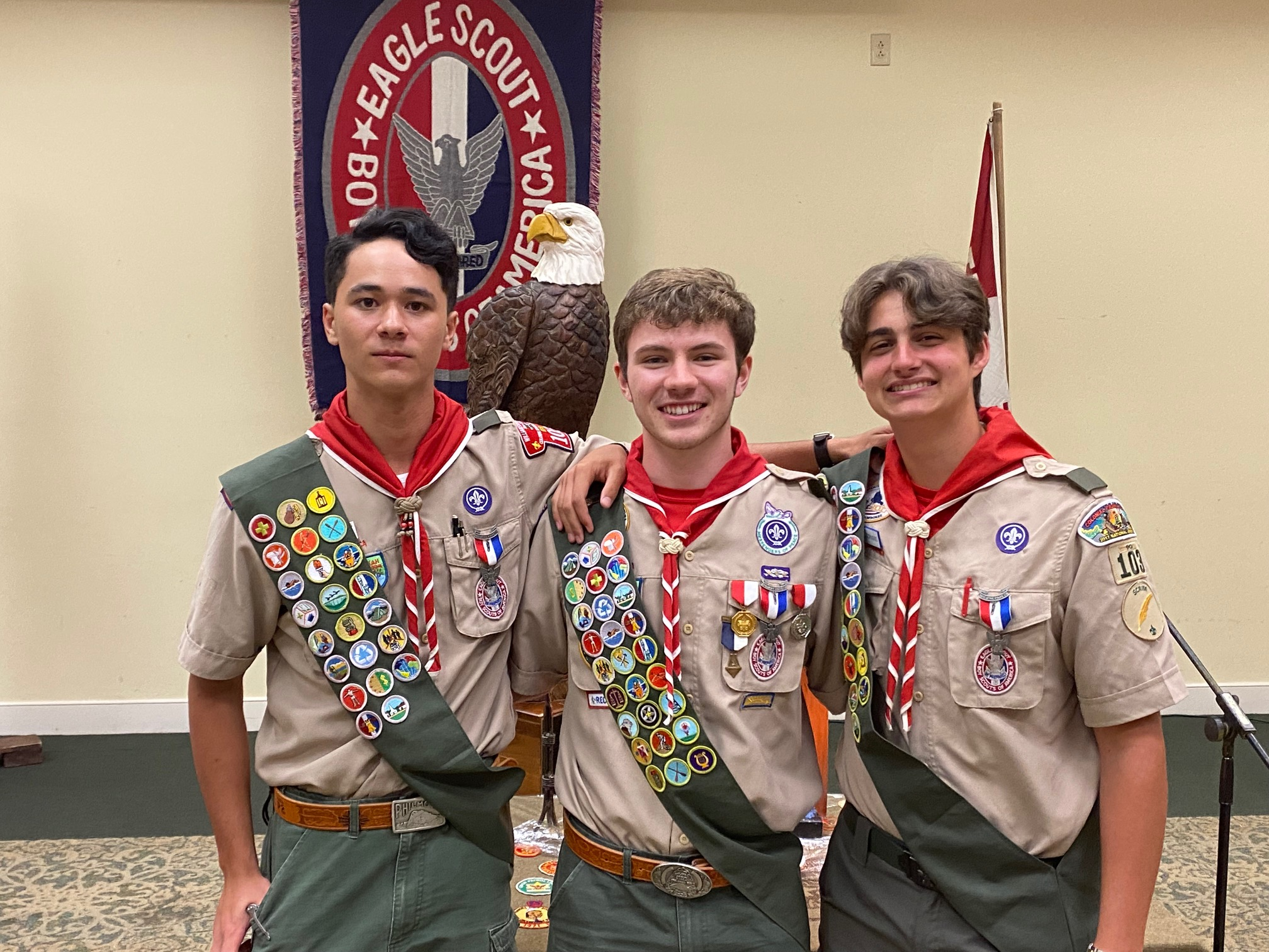 3 More Eagle Scouts officially Charged at Troop 103